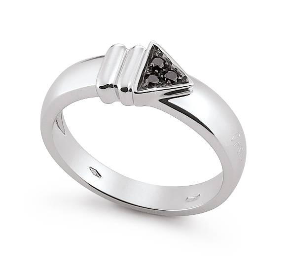 Mens Italian Arrow Wedding Ring 0.13 Ct Diamonds 18K White Gold