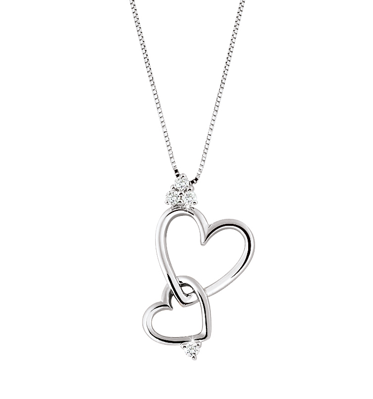 Two Hearts Italian Necklace & Pendant 1/10 CT Diamonds