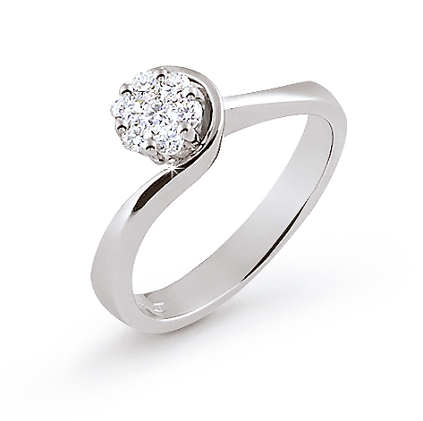 Italian Flower Engagement Ring 0.25 Ct Diamonds