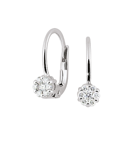 Italian Drop Earrings 1/4 Ct Diamonds 18K White Gold