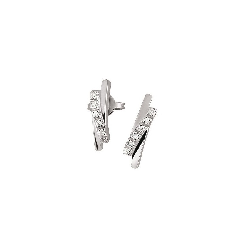 Fancy Italian Diamond Earrings 18K White Gold