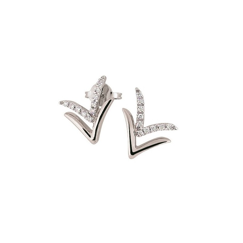 Italian Arrow Earrings with Diamonds