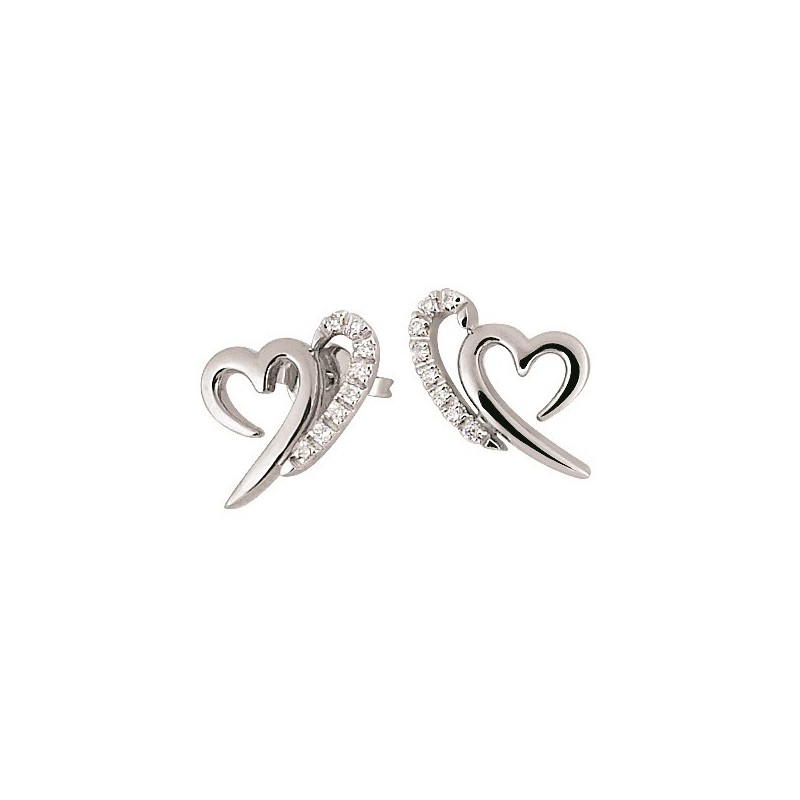 Fine Italian Heart Earrings White Gold