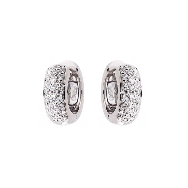 Fancy Italian Huggie Earrings 1/2CT Diamonds