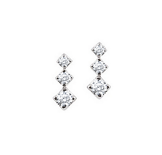 1/2CT Diamond 3 Stone Italian Earrings