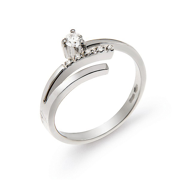 Italian 3-Shank Engagement Ring with Diamonds