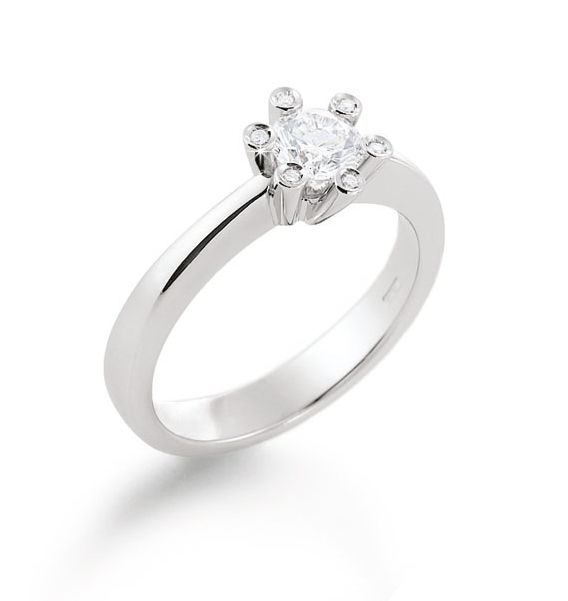 Royal Crown Engagement Ring 0.27 Ct Diamonds 18K White Gold