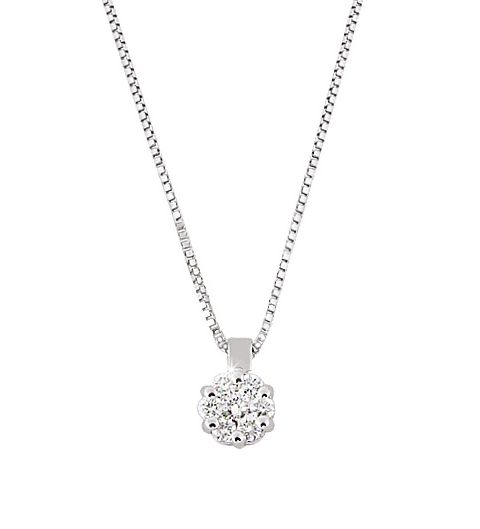 Solitaire Halo Flower Pendant & Necklace 0.11 Ct Diamonds 18K White Gold