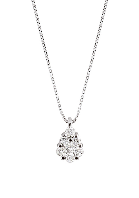 Upscale Italian Drop Necklace 0.27 Ct Diamonds