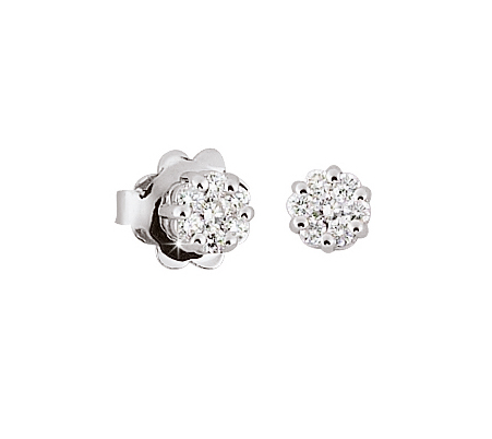 Italian Flower Stud Earrings 1/4 CT Diamonds