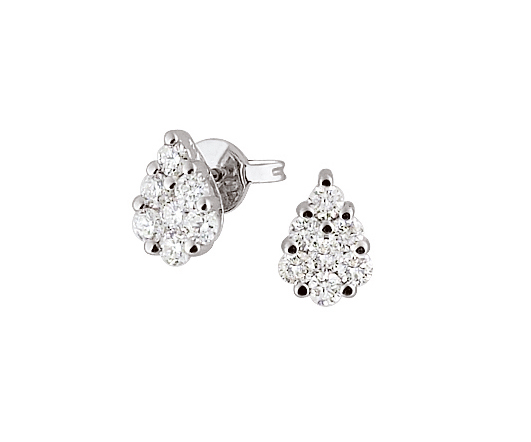 Italian Drop Stud Earrings 1/2 CT Diamonds 18K White Gold