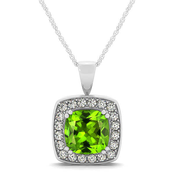 pendant silver gemstone product round faceted necklace peridot green sterling