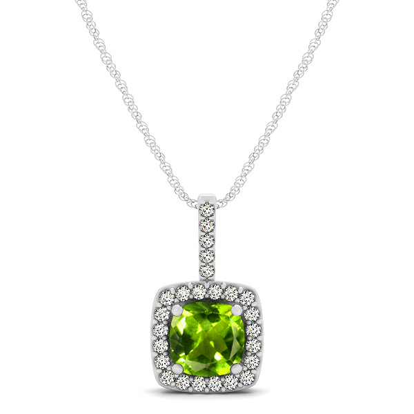 Cushion Peridot Square Halo Necklace
