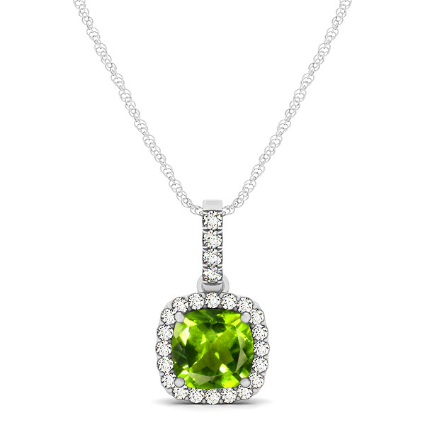 Elegant Cushion Peridot Halo Pendant Necklace