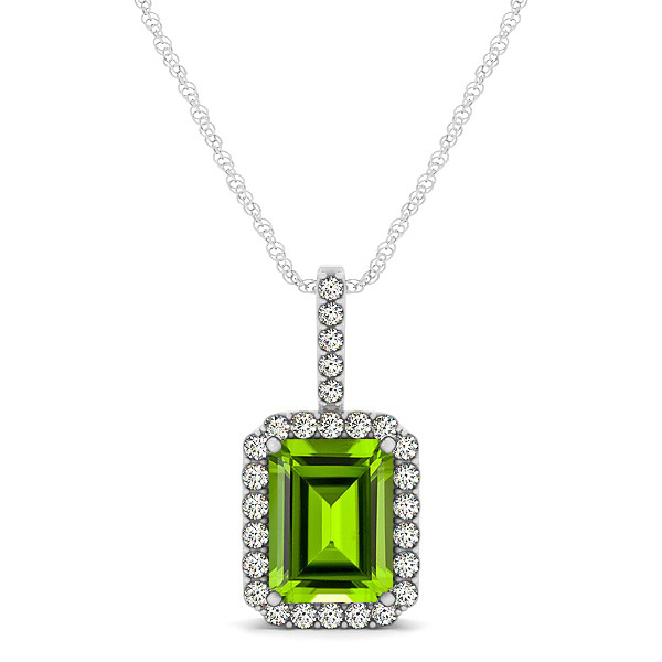 Halo Emerald Cut Peridot Necklace Classic Design
