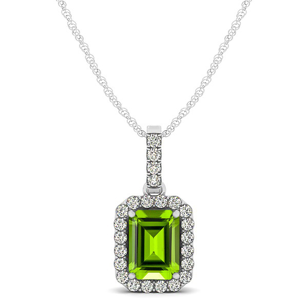 Classic Emerald Cut Peridot Necklace with Halo Pendant