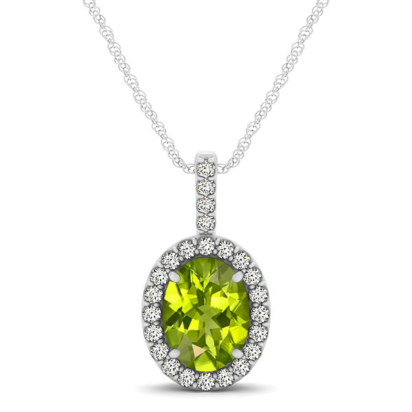 Classic Drop Halo Necklace with Oval AAA Peridot Pendant