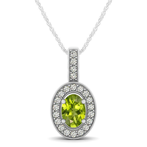 Vintage Oval Cut Peridot Halo Necklace