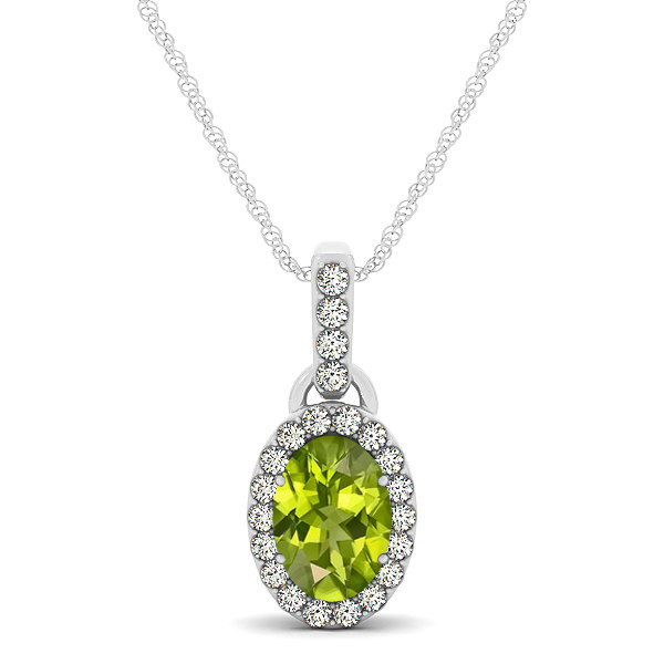 Lovely Halo Oval Peridot Necklace in Gold, Silver or Platinum