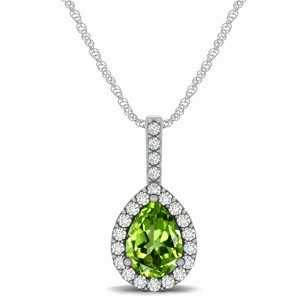 Exclusive Pear Halo Peridot Pendant Necklace
