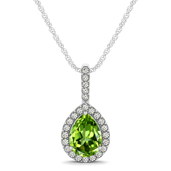 Classic Drop Necklace with Pear Cut Peridot Pendant
