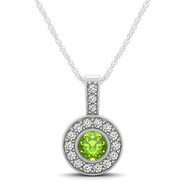 Apple Green AAA Round Peridot Vintage Halo Drop Necklace