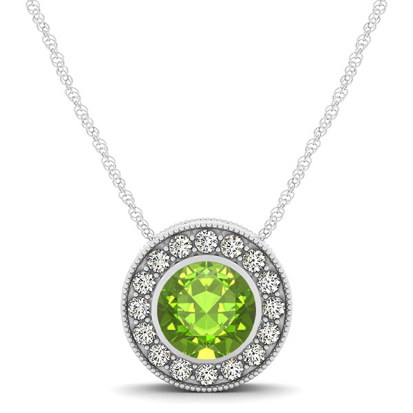 Halo Peridot Necklace with Round Pendant