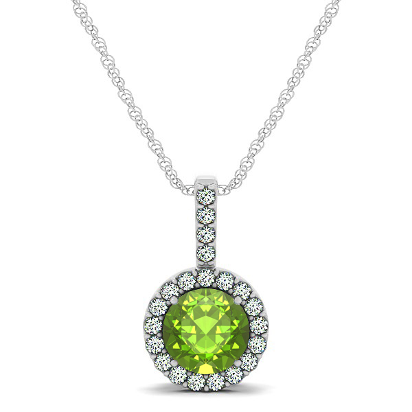 Gorgeous Round Peridot Halo Necklace