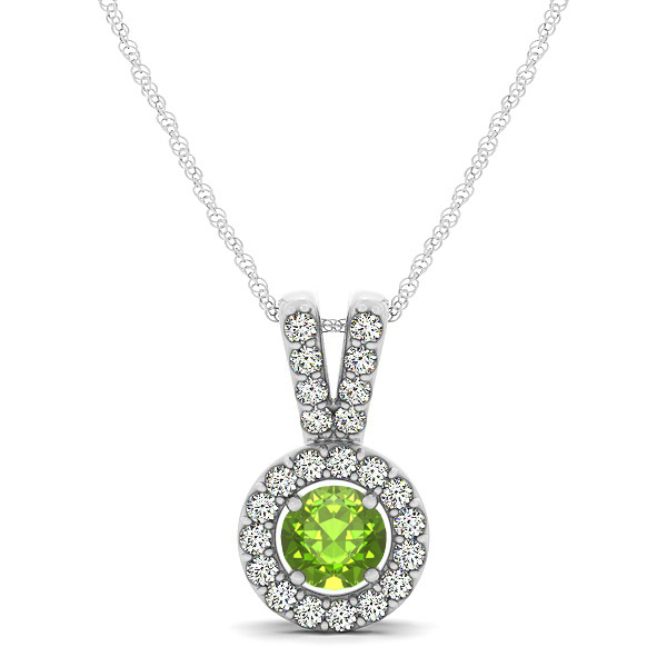 Avant-Garde Round Halo Peridot Necklace