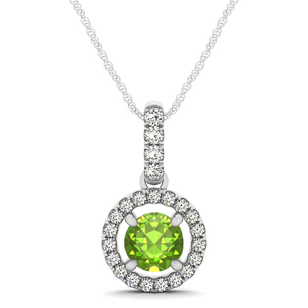 Extraordinary Floating Round Peridot Halo Drop Necklace