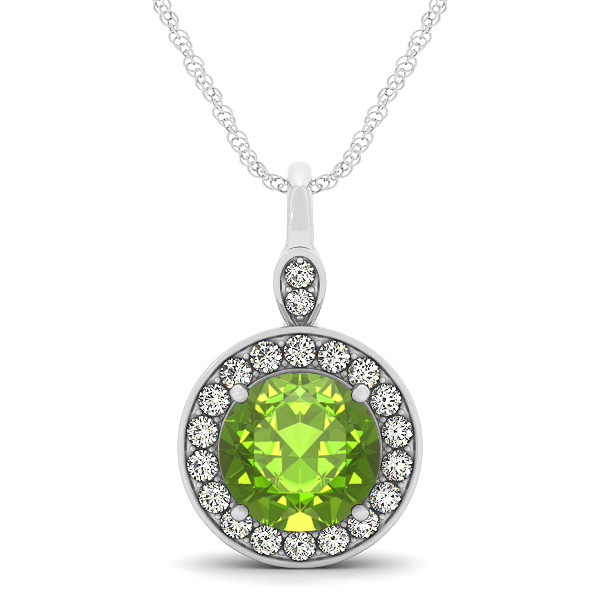 Halo Drop Round Cut Peridot Necklace