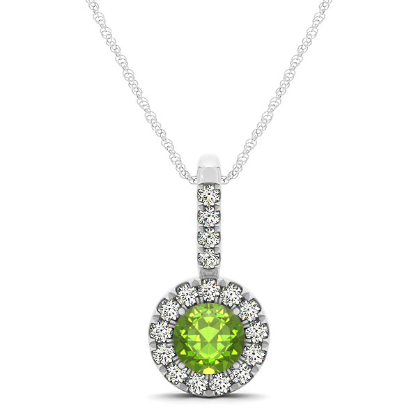 Round Cut Peridot Halo Pendant & Necklace