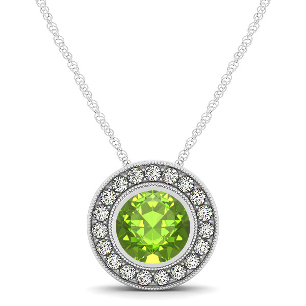 Classy Halo Necklace with Round Cut Peridot Pendant