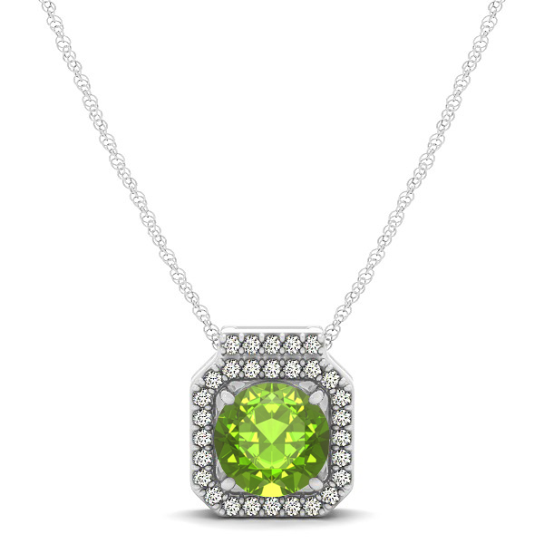Square Halo Necklace with Round Cut Peridot Pendant