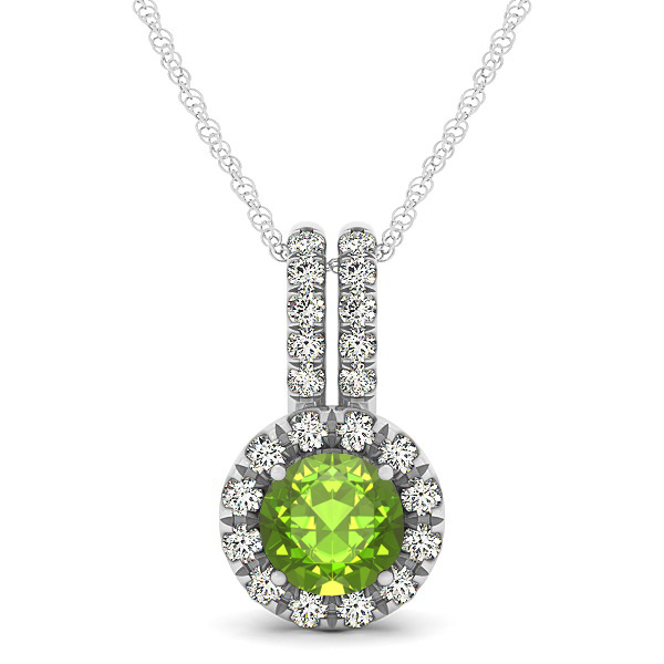 Luxury Halo Drop Necklace with Round Cut Peridot Gemstone
