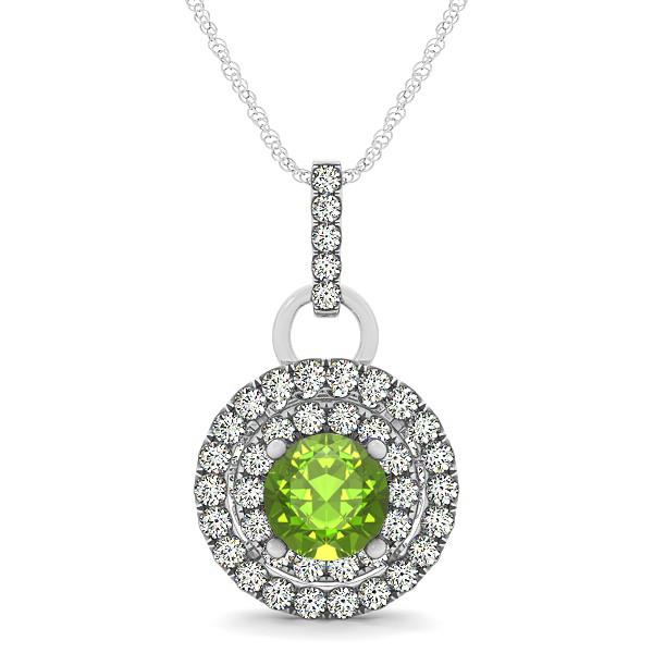 Royal Dual Halo Peridot Necklace with Circle Pendant
