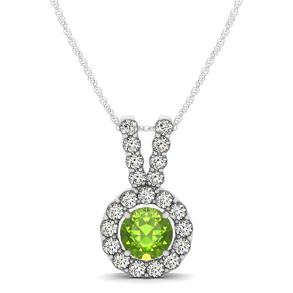 Classique V Neck Halo Necklace with Round Cut Peridot