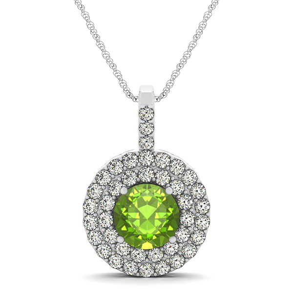 Designer Circle Double Halo Peridot Necklace
