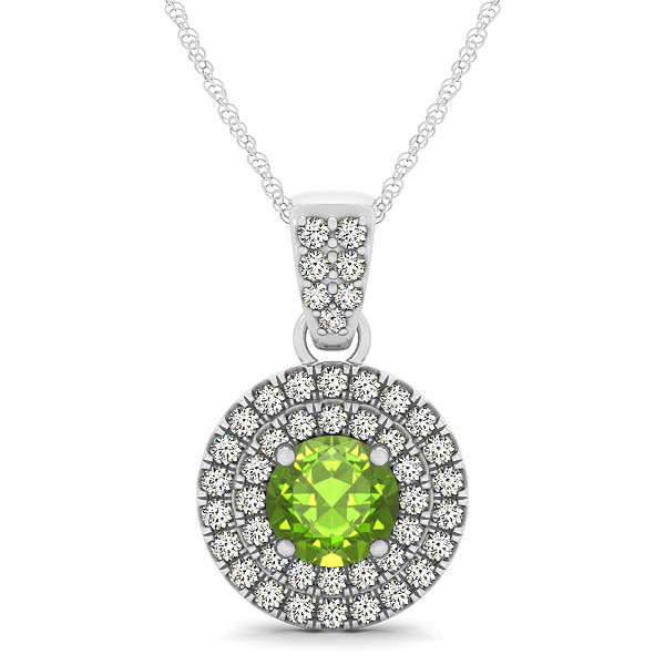 Double Halo Round Peridot Circle Neklace