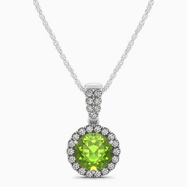 Gorgeous Drop Halo Necklace Round Cut Peridot VS1