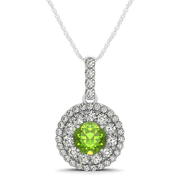 Round Peridot Necklace with Twin Halo Pendant
