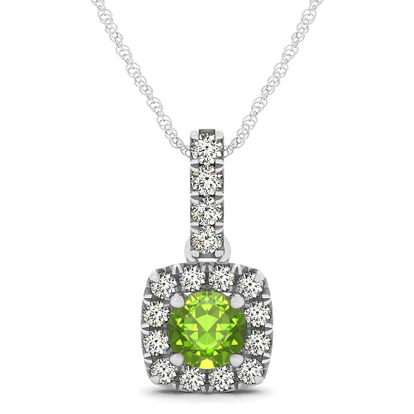 Peculiar Halo Side Stone Round Peridot Drop Necklace