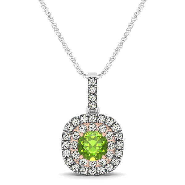 Cushion Shaped Halo Necklace with Round Peridot Pendant