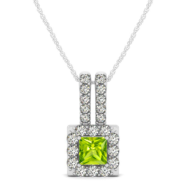 Contemporary Square Halo Necklace Princess Cut Peridot