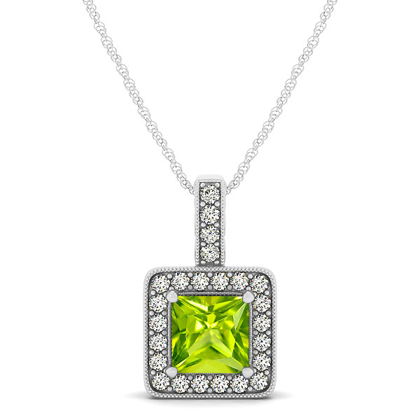 Square Peridot Halo Necklace in Gold or Sterling Silver