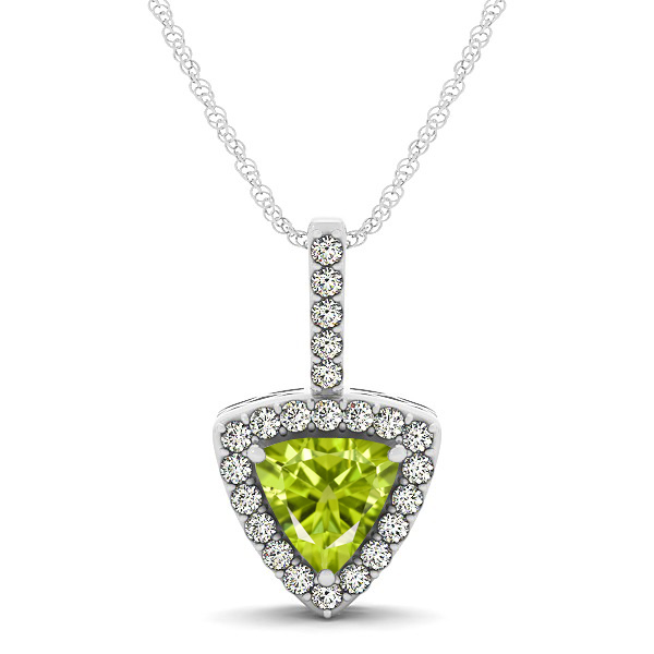 Beautiful Trillion Cut Peridot Halo Necklace