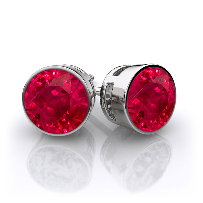 Ruby Stud Earrings Bezel
