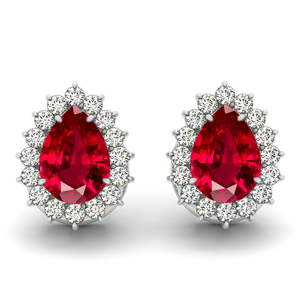 Pear Drop Ruby Earrings