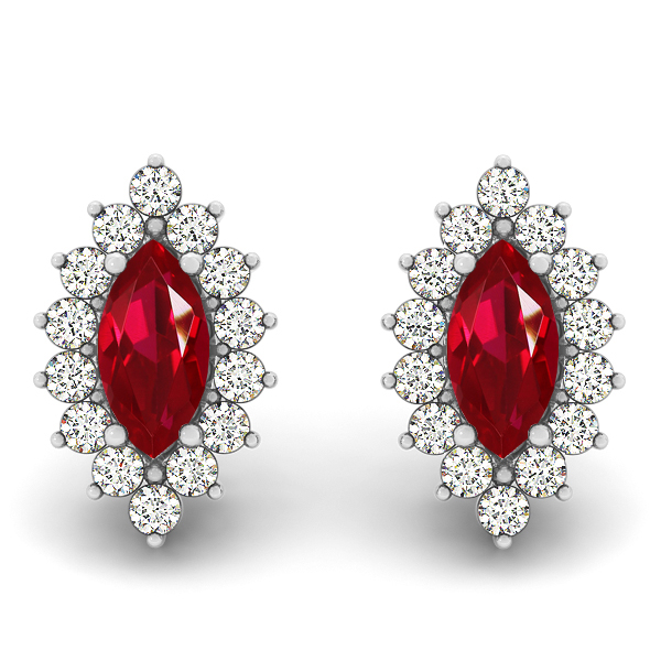 Marquise Cut Ruby Earrings