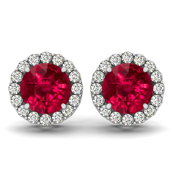 Fancy Ruby Stud Earrings